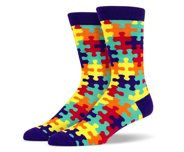 Mens Navy Puzzle Socks