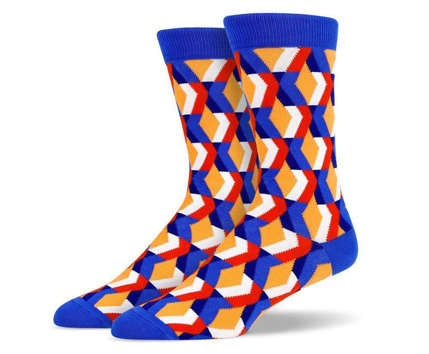 Mens Blue 3D Diamond Socks