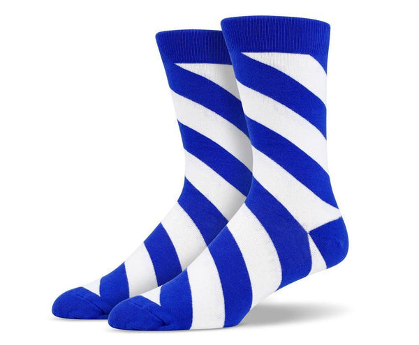 Mens Blue Diagonal Striped Socks