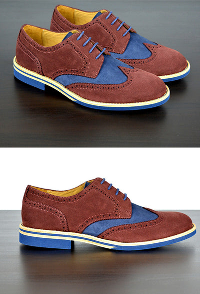 Mens Maroon & Blue Suede Wingtip Dress Shoes