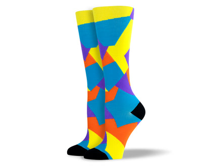 Women's Blue Mosaic Compression Socks
