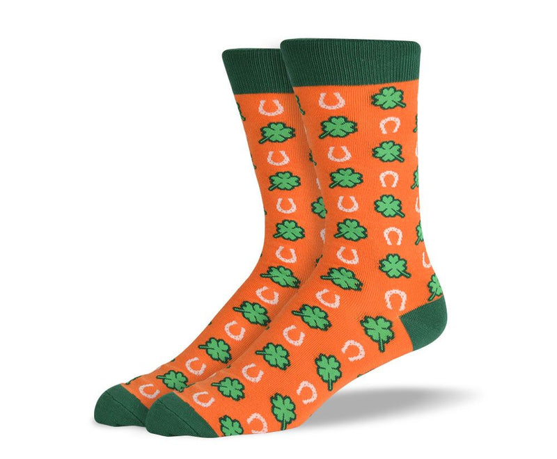 Orange St. Patrick's Day Men's Dress Socks