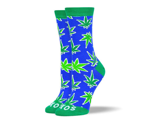 Women's Pattern Blue Weed Leaf Socks