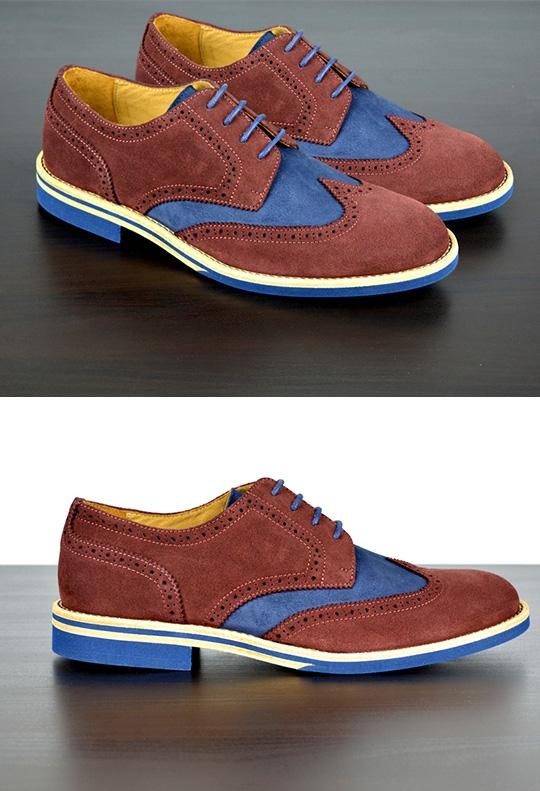 Mens Maroon & Blue Suede Wingtip Dress Shoes - Size 12