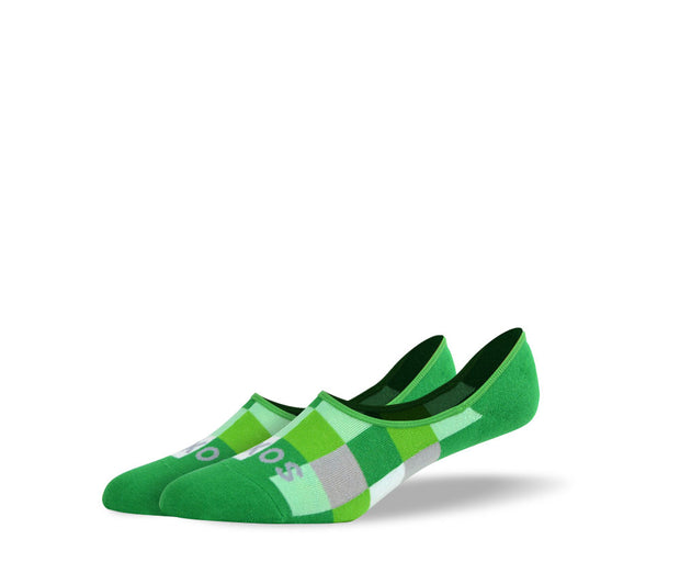 Men's Green Checkered No Show Socks