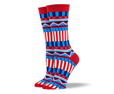 Women's Red Zig Zag Stripes Socks