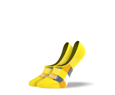 Women's Yellow Checkered No Show Socks