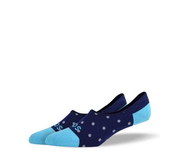 Men's Small Blue Polka Dots No Show Socks