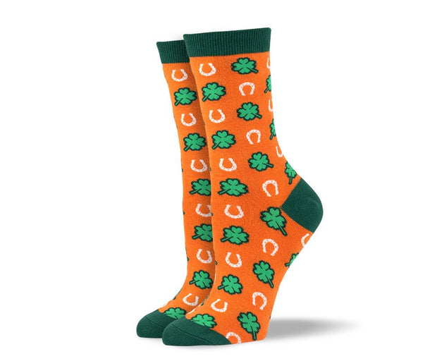 Orange St. Patrick's Day Women's Dress Socks