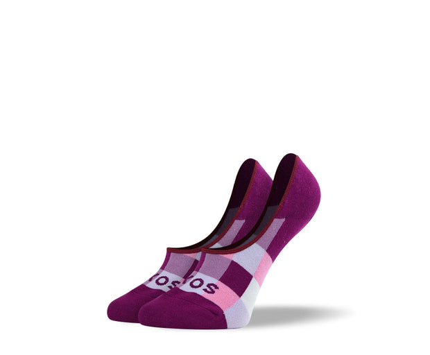Women's Purple Checkered No Show Socks