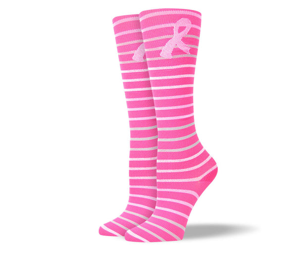 Women's Pink Stripes & Ribbon Compression Socks