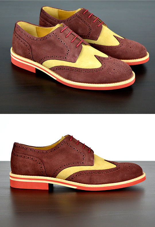 Mens Maroon & Cream Suede Wingtip Dress Shoes
