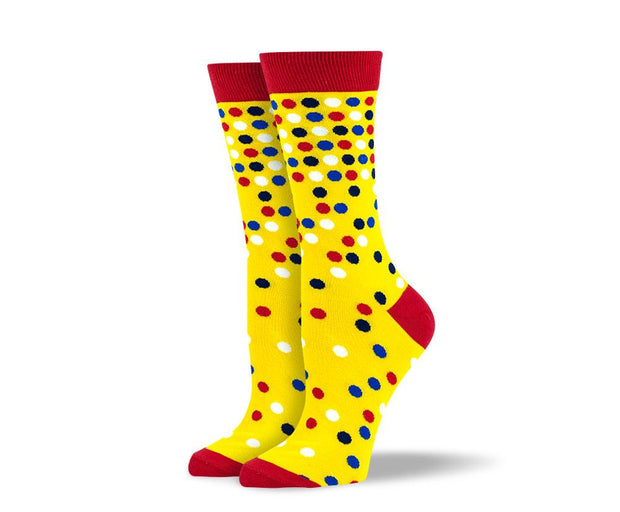 Women's Yellow Polka Dot Socks