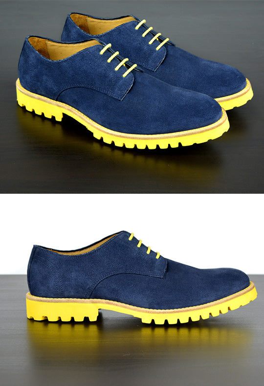 Mens Blue & Yellow Derby Dress Shoes