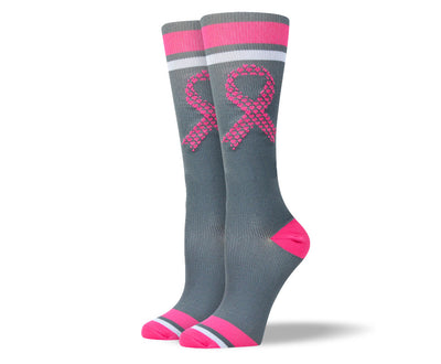 Women's Grey & Pink Ribbon Compression Socks
