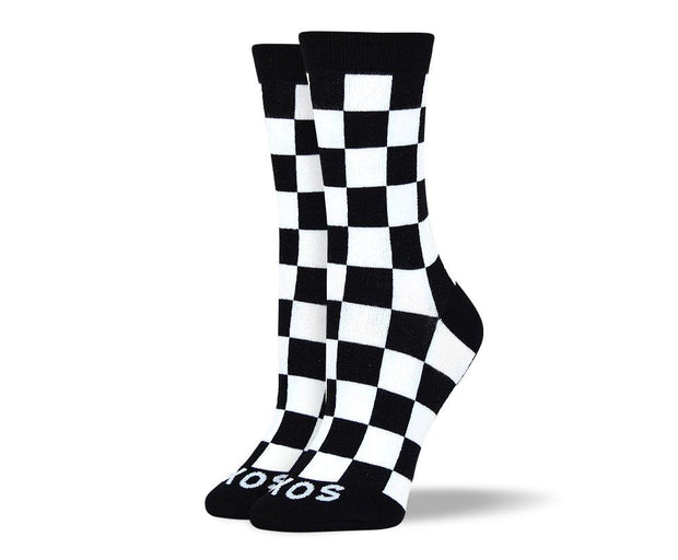 Women's Pattern Black & White Square Socks