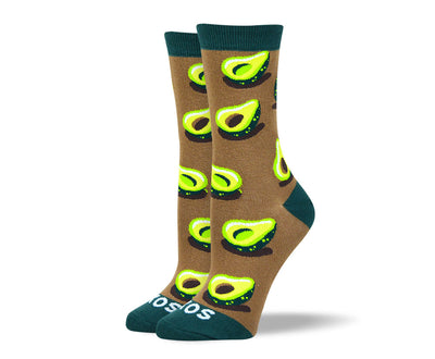 Women's Funny Brown Avocado Socks