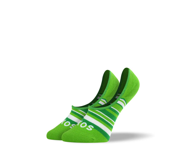 Women's Green Stripes No Show Socks