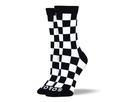 Women's Fancy Black & White Square Socks