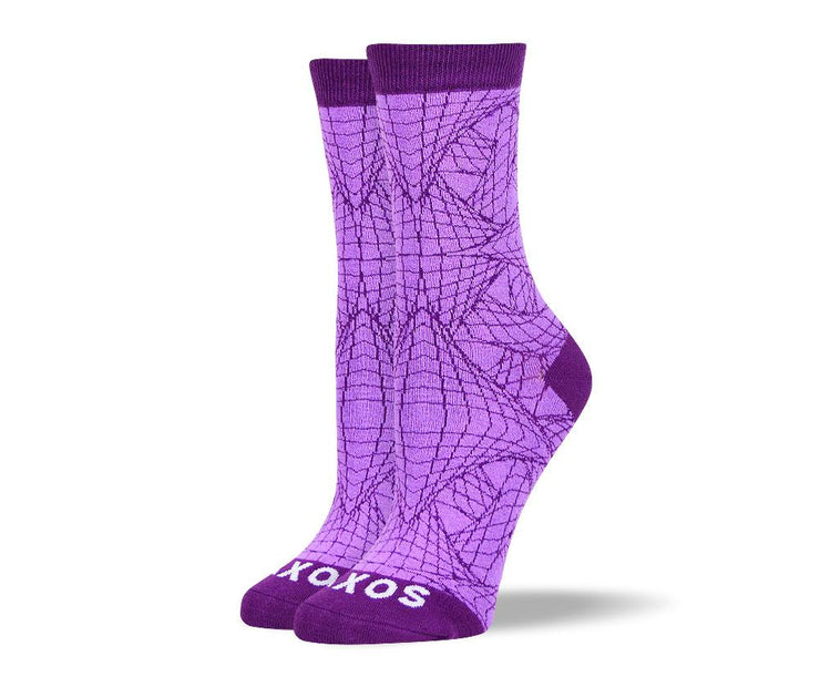 Women's Trendy Purple Web Socks