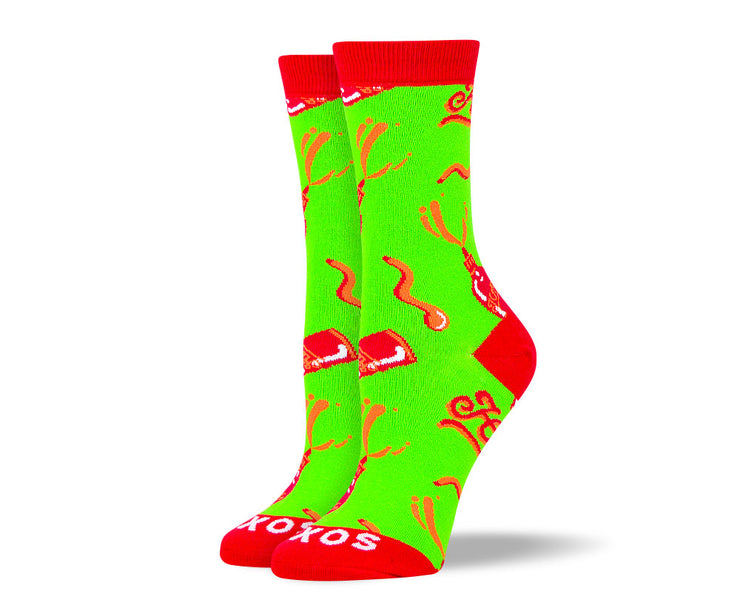 Women's Crazy Green Hot Sauce Socks