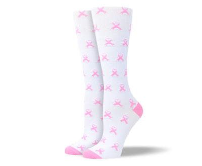 Women's White & Pink Ribbon Compression Socks