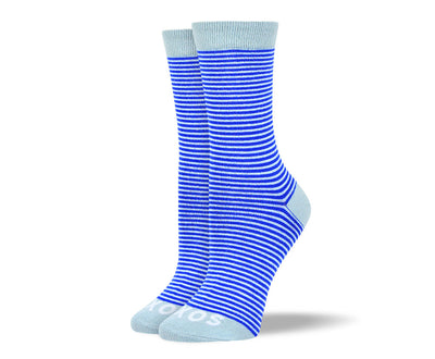 Women's Blue Thin Stripes Socks