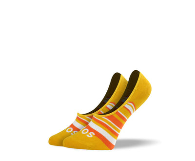 Women's Orange Stripes No Show Socks