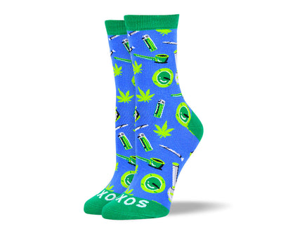 Women's Crazy Blue Weed Socks