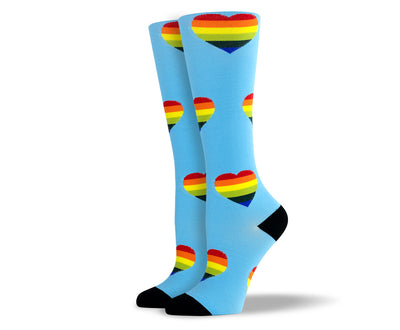 Women's Blue Heart Compression Socks