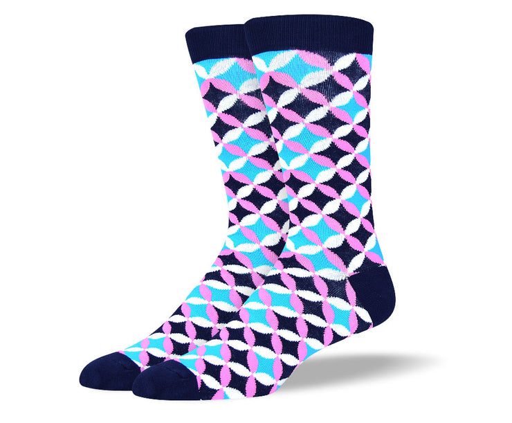 Men's Blue & Pink Flower Petal Socks