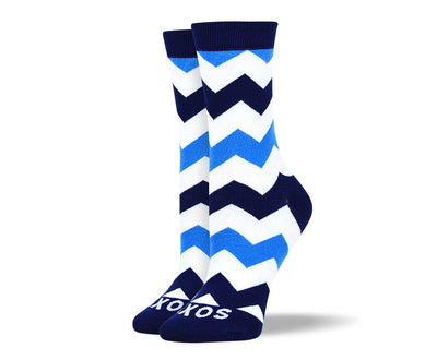 Women's Blue & White Zig Zag Stripes Socks