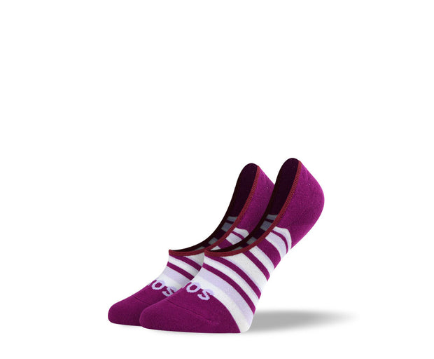 Women's Purple Stripes No Show Socks