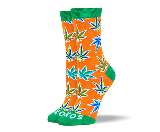 Women's Fun Orange Weed Leaf Socks
