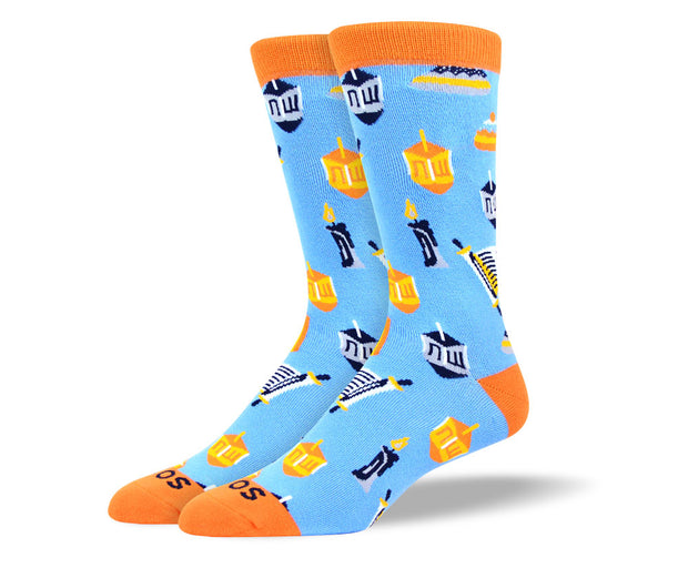 Men's Light Blue Hanukkah Socks