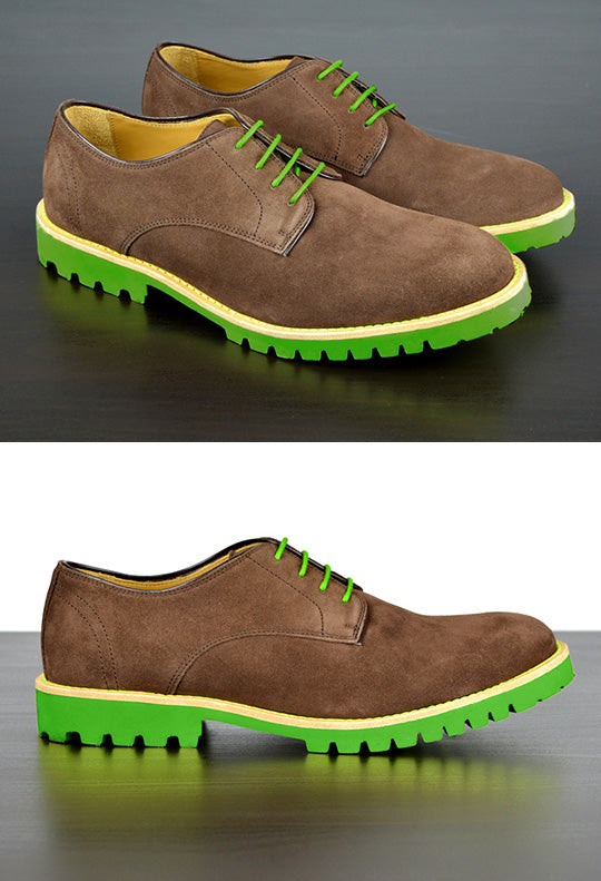 Mens Brown & Green Derby Dress Shoes