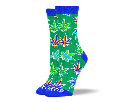 Women's Pattern Green Weed Leaf Socks