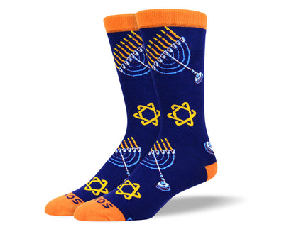 Men's Navy Hannukah Socks