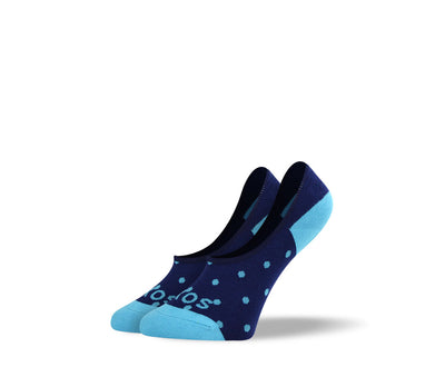 Women's Small Blue Polka Dots No Show Socks