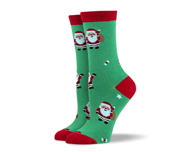 Women's Christmas Green Santa Claus Socks
