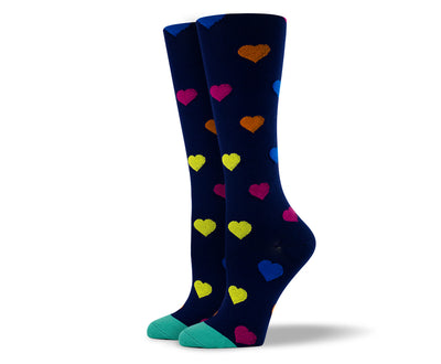Women's Small Hearts Compression Socks