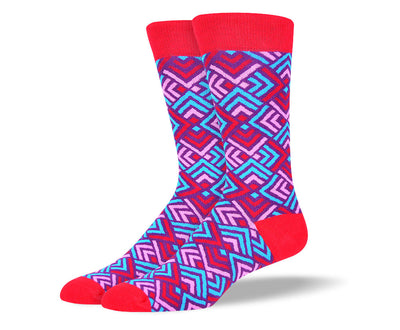 Men's Colorful Red Pattern Socks