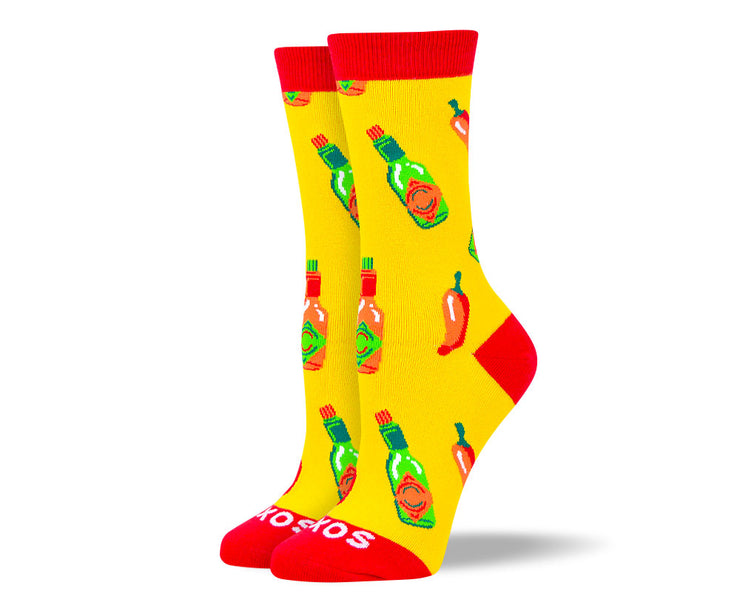 Women's Fun Yellow Hot Sauce Socks
