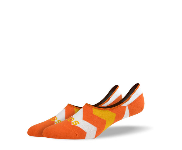 Men's Large Orange Zig Zags No Show Socks