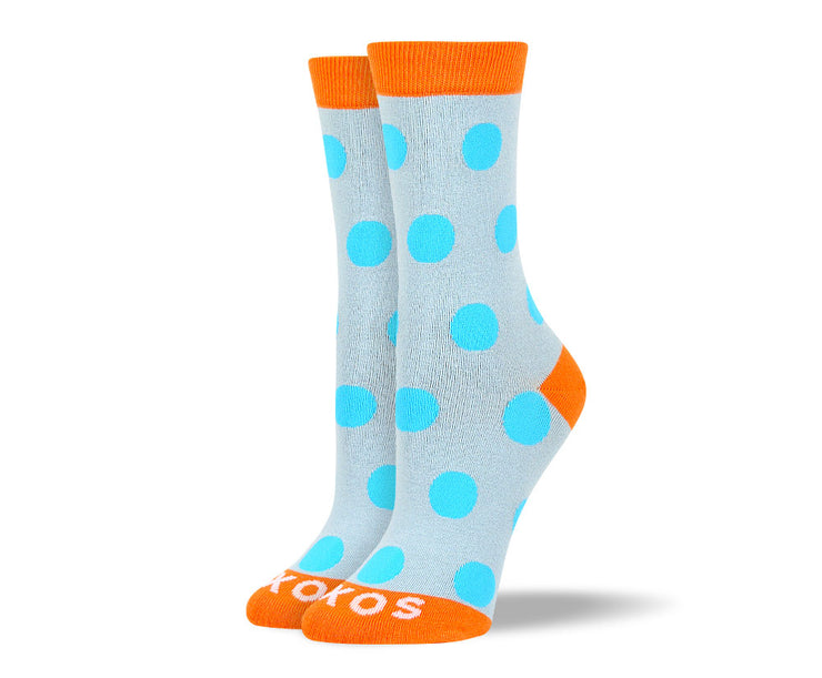 Women's Light Blue Dots Socks