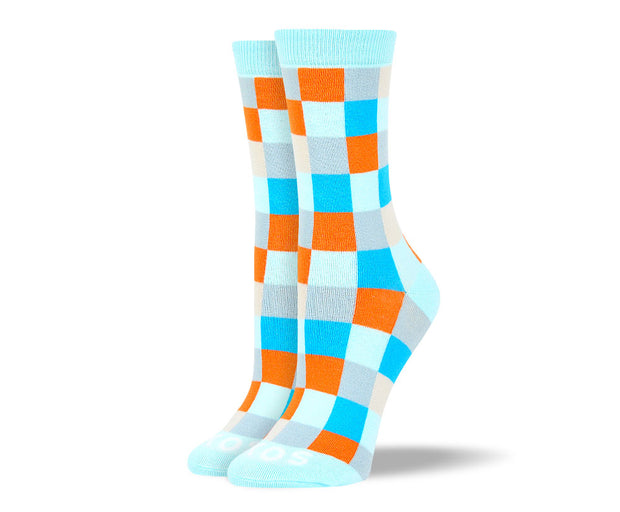 Women's Light Blue Big Square Socks