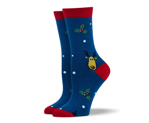 Women's Christmas Blue Reindeer Socks