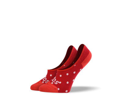 Women's Small Red Polka Dots No Show Socks