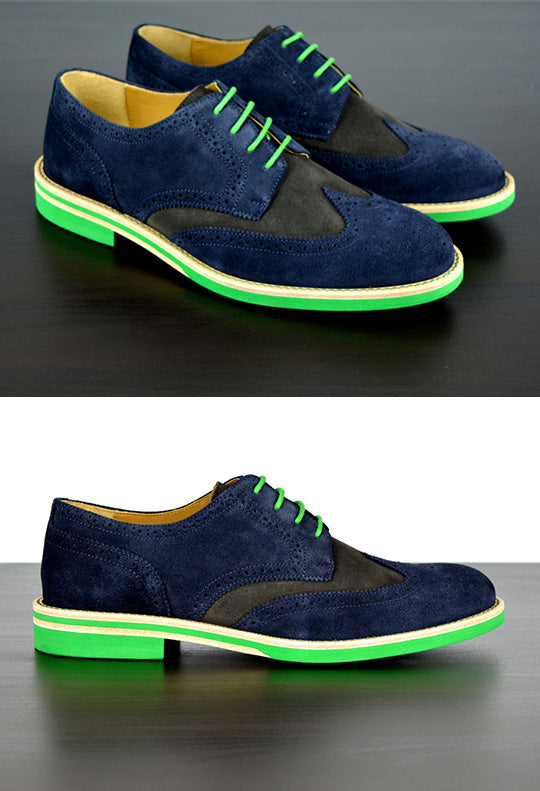Mens Blue & Green Suede Wingtip Dress Shoes