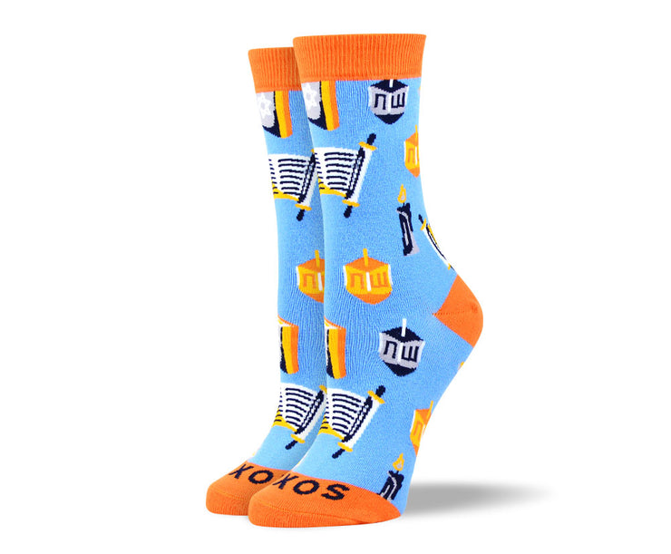 Women's Light Blue Hanukkah Socks